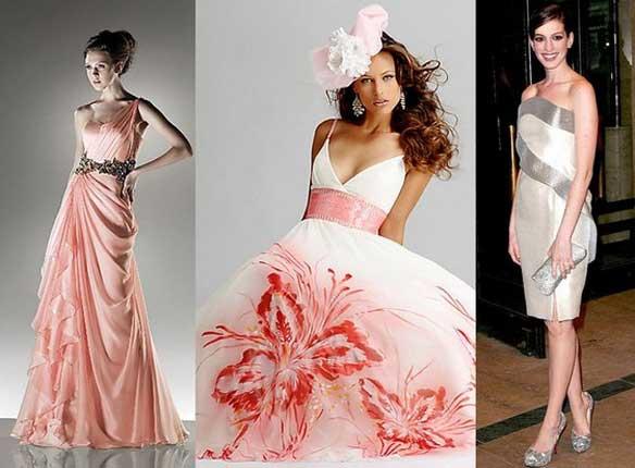 Розовые и белые вечерние платья на Новый год 2012 (фото). вечерние.