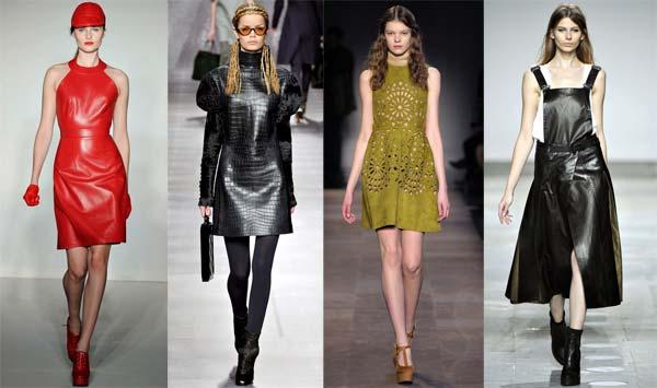 Модні шкіряні сукні осінь зима 2012 2013