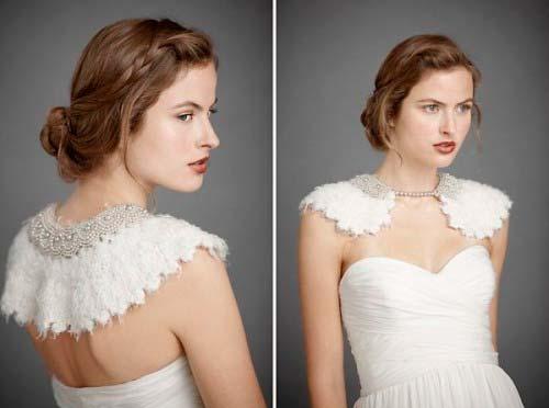 Весільні сукні з модним коміром 2013