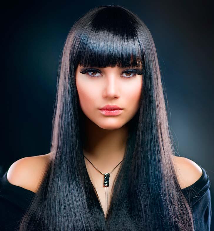 Черные волосы с челкой