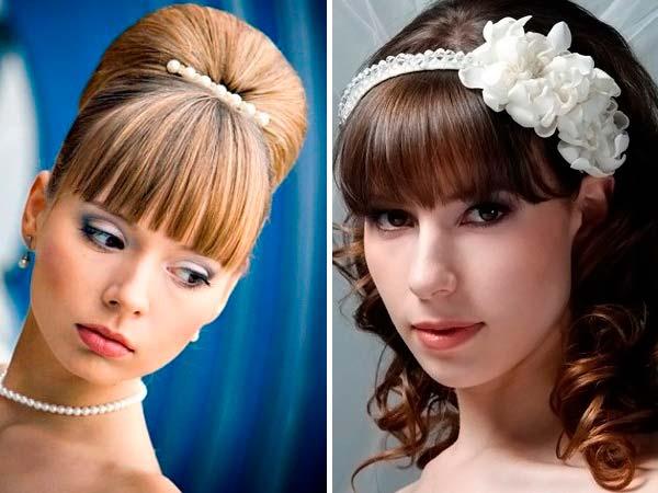 Весільні зачіски з коротким чубчиком